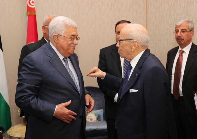 رئيس الجمهورية يبحث مع الرئيس الفلسطيني تطورات الأوضاع على الساحة الفلسطينية